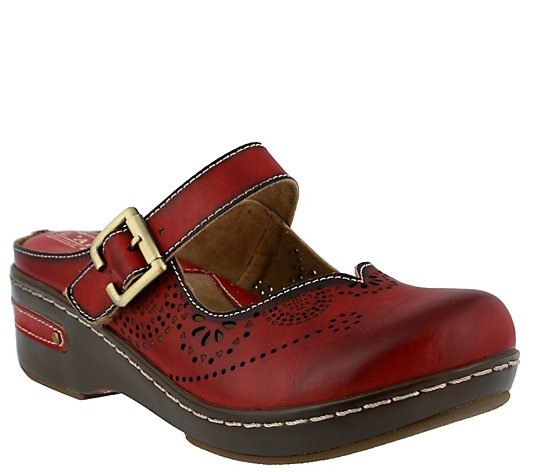 L'Artiste by Spring Step Open Back Leather Clogs - Aneria