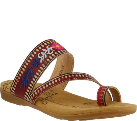 L'Artiste by Spring Step Leather Thong Sandals- Akhila