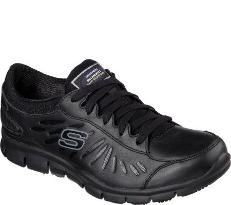 Skechers Work Relaxed Fit Lace-up Leather Sneakers - Eldred