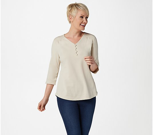 Denim & Co. V-Neck 3/4-Sleeve Top
