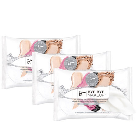 IT Cosmetics Bye Bye Makeup 3-in1 Hydrating Cleansing Wipes Trio