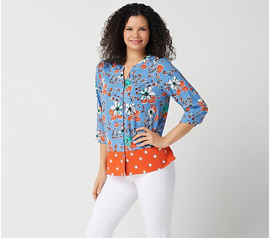"""As Is"" Denim & Co. Floral & Dot Print Stretch Crepe Blouse"
