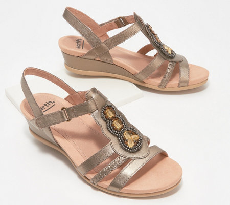 Earth Leather Wedge Sandals Pisa Falmouth