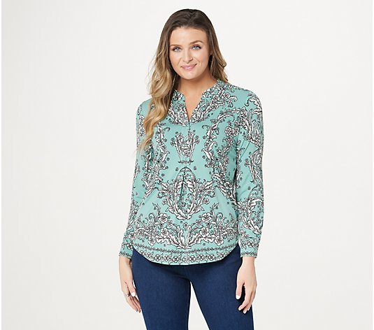 Belle by Kim Gravel Printed Long-Sleeve Knit Blouse