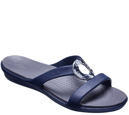 Crocs Slide Sandals - Sanrah Hammered Metal