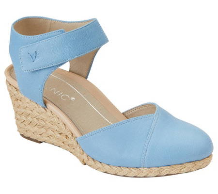 Vionic Leather Backstrap Wedges -  Loika