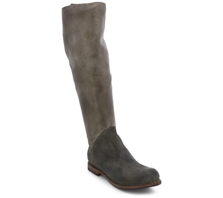 BED STU Tall Leather Lace Back Boots - Manchester