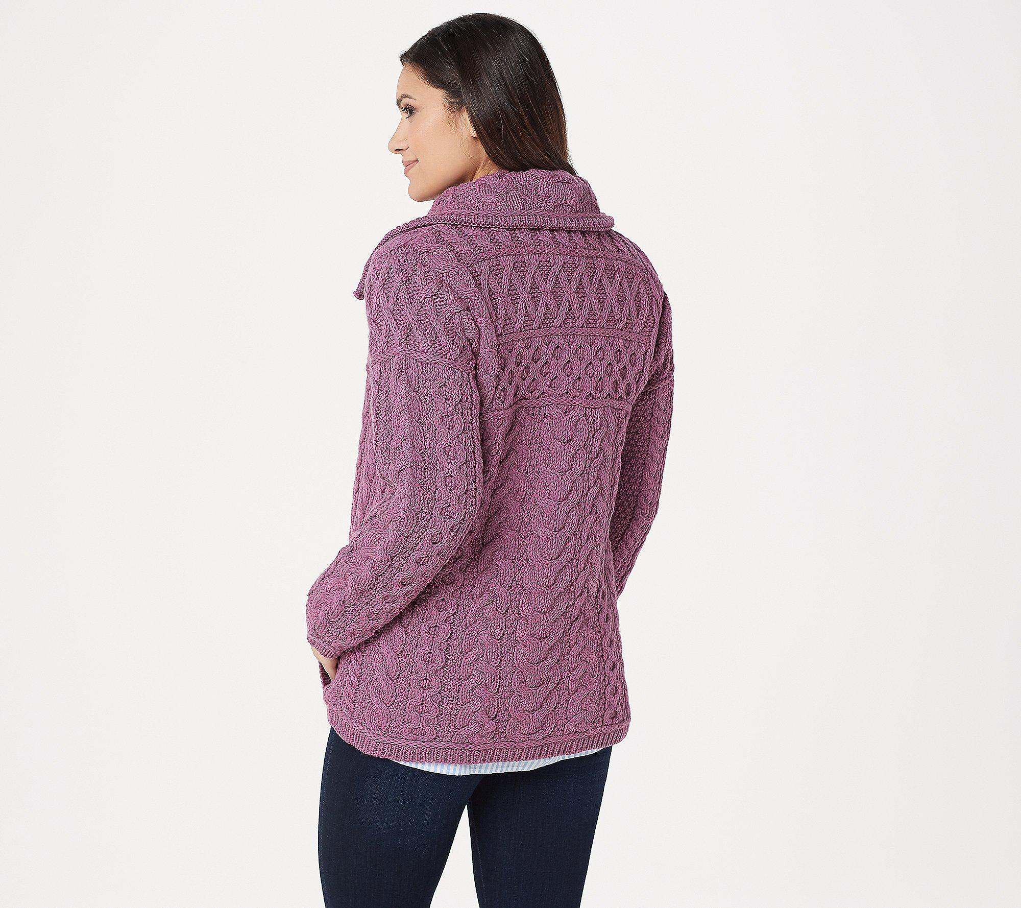 Aran Craft Zip Front Sweater Cardigan Pockets Ecru XS NEW A342709
