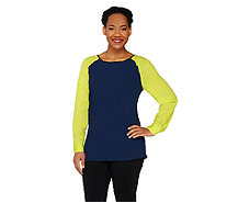View by Walter Baker Color Block Long Sleeve Woven Top - A263081