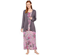 Carole Hochman Abstract Hydrangea Rayon Spandex Lounge Dress Set - A273581