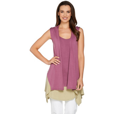 LOGO by Lori Goldstein Color-Block Twin Set Vest & Tank