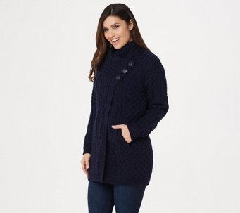 a164e53610b Aran Craft Merino Wool Long Cardigan with Button Collar Closure - A275981.  Best Seller