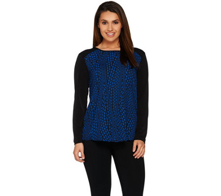 Susan Graver Printed Feather Weave Top with Liquid Knit Trim