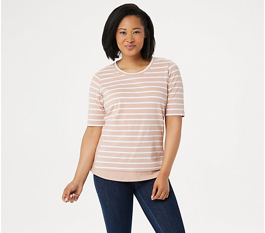 Denim & Co. Active Striped Scoop Neck Elbow Sleeve Top
