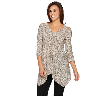 Attitudes by Renee Cold-Shoulder Jersey Knit Printed Tunic