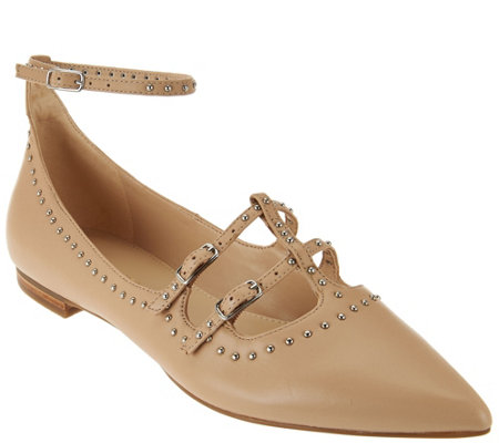 """As Is"" Marc Fisher Leather Pointed Toe Flats w/ Ankle Strap - Aura"