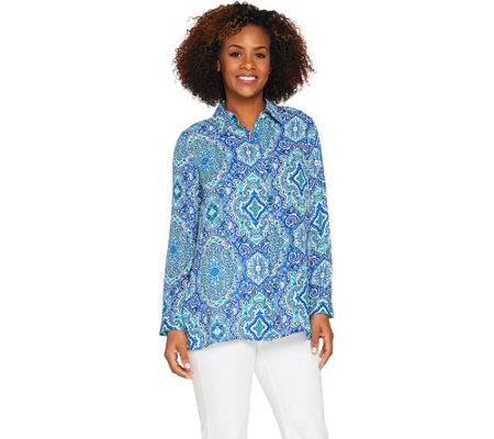 Joan Rivers Moroccan Print Silky Blouse w/ Long Sleeves
