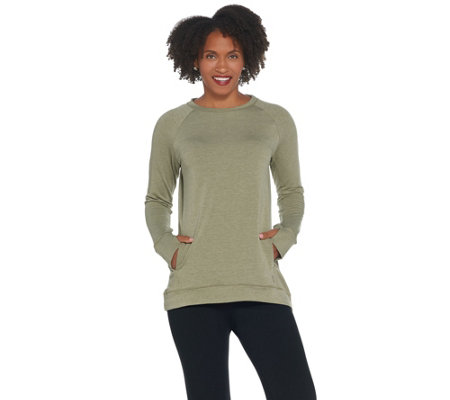 Cuddl Duds Comfortwear French Terry Raglan Sleeve Pullover Top