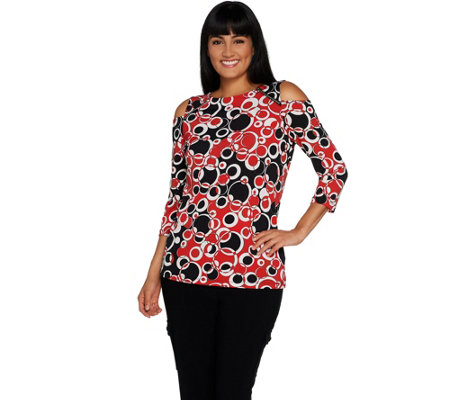 Susan Graver Printed Liquid Knit Cold Shoulder Top w/ Zippers