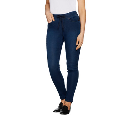 Martha Stewart Petite Knit Denim Pull-On Jeans with Drawstring