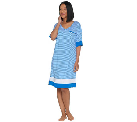 Cuddl Duds Smart Comfort Elbow Sleeve V-Neck Sleep Dress