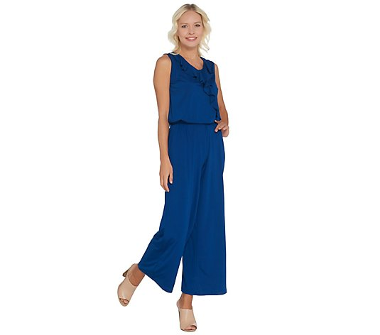 Joan Rivers Sleeveless Jersey Petite Ankle Jumpsuit w/ Ruffle