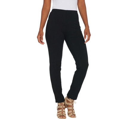 Women with Control Petite Slim Leg Ankle Pants with Faux Back Pockets