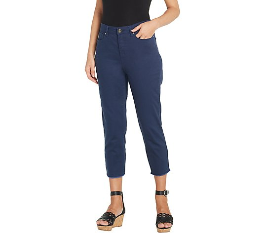 Belle by Kim Gravel TripleLuxe Twill Cropped Pants w/ Fringe