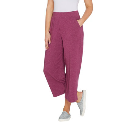 LOGO Lounge by Lori Goldstein Jersey Wide Leg Cropped Pants
