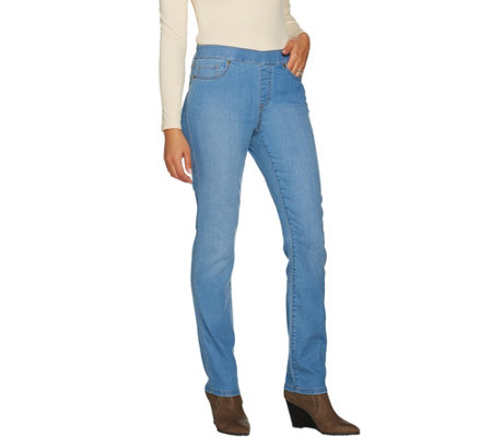 """As Is"" Susan Graver Petite Stretch Denim Straight Leg Pull-On Jeans"