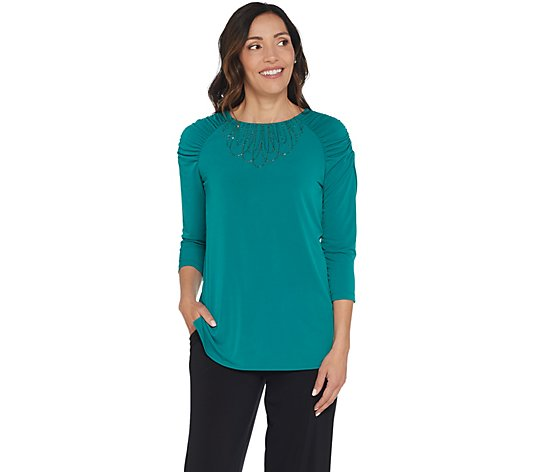 Susan Graver Artisan Liquid Knit Raglan Sleeve Top