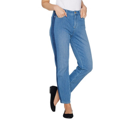 """As Is"" Belle by Kim Gravel Flexibelle Tuxedo Stripe Jeans"