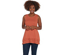 LOGO Layers by Lori Goldstein Rib Knit Tank Top with Ruffle Hemline - A310981
