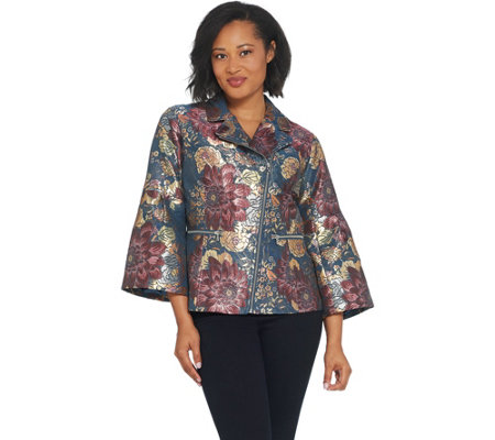 Isaac Mizrahi Live! Special Edition Floral Jacquard Bell Sleeve Jacket