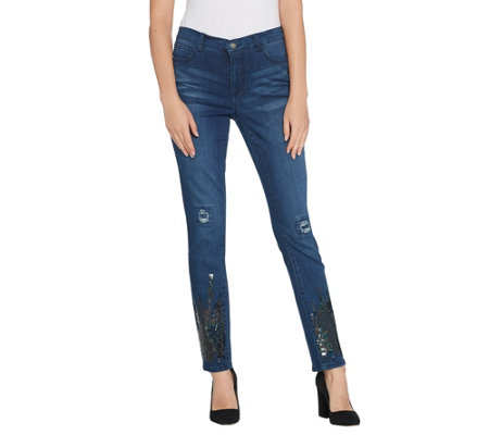 Women with Control My Wonder Denim Petite Sequin Ankle Jeans