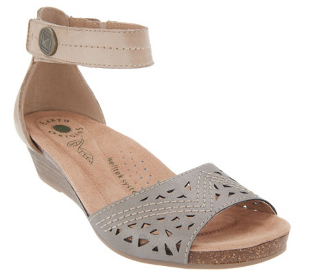 Earth Origins Wedge Sandals with Ankle Strap - Honey