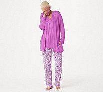 82b32b3c2 Carole Hochman Batik Floral Rayon Spandex 3 Piece Pajama Set - A346781