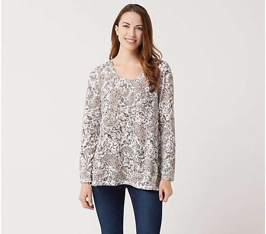 Joan Rivers Paisley Print Knit Top with Long Sleeves