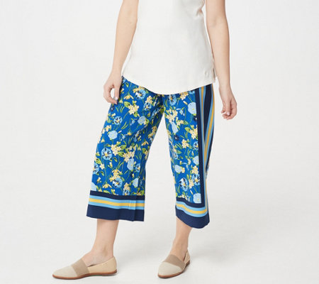 Isaac Mizrahi Live Regular Engineered Scarf Print Culotte Pants