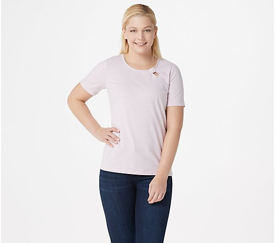 """As Is"" Denim & Co. Scoop-Neck Short-Sleeve Top with Keyhole Detail"