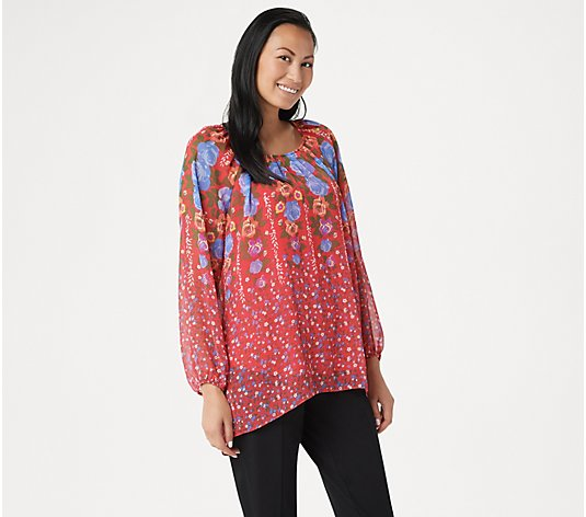 """As Is"" Susan Graver Printed Crinkle Chiffon Peasant Tunic with Knit Tank"