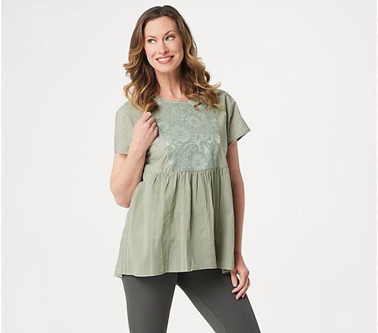 """As Is"" LOGO Lavish by Lori Goldstein Sheer Oversized Peasant Blouse"