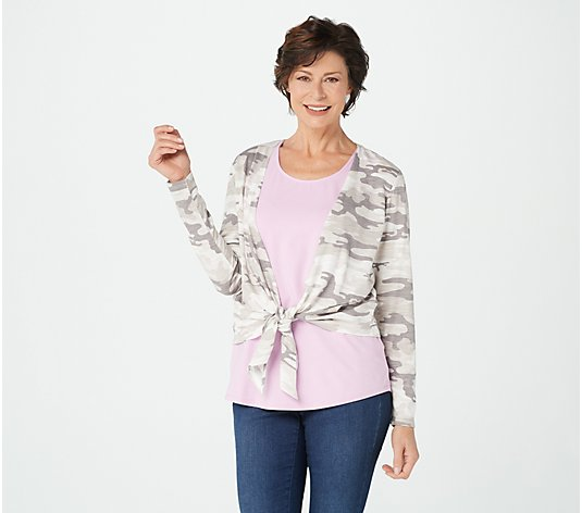 Belle by Kim Gravel Slub Knit Camo Print Shrug