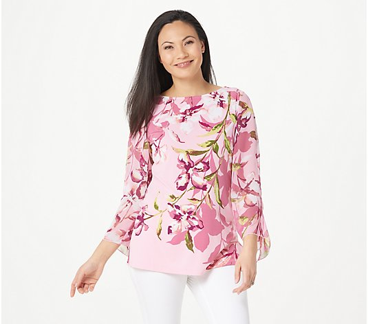 Susan Graver Printed Liquid Knit Top with Chiffon Sleeves