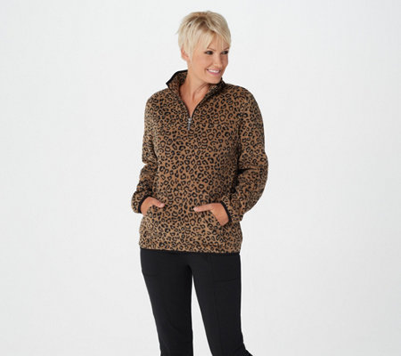 """As Is"" Susan Graver Weekend Printed Polar Fleece 3/4-Zip Pullover Top"