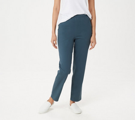 Denim Co Original Semi-Fit Waist Stretch Pants Side Pockets White P2X NEW A43881