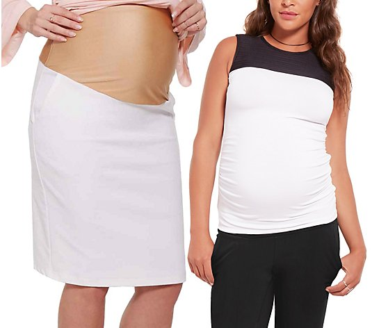 Stowaway Collection Black & White Maternity Top& Skirt Set