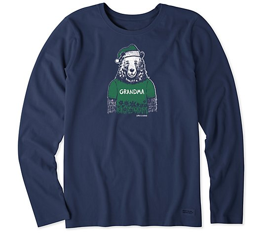 Life is Good Women Long Sleeve Grandma Santa Bear Crusher Tee