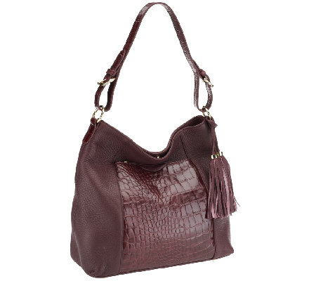 Isaac Mizrahi Live! Bridgehampton Croco Embossed Leather Hobo