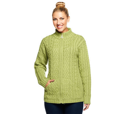 Aran Craft Merino Wool Zip Front Stand Collar Cardigan